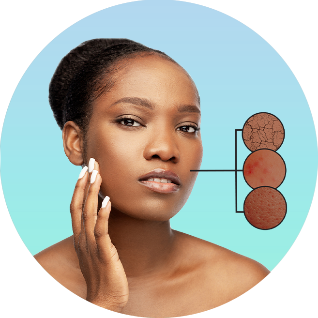 Woman applying face product